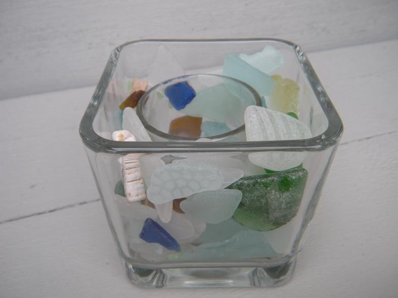 lake michigan beach glass-square, beach glass, green, blue, brown, white, candle, tea light, votive, lake michigan, wisconsin