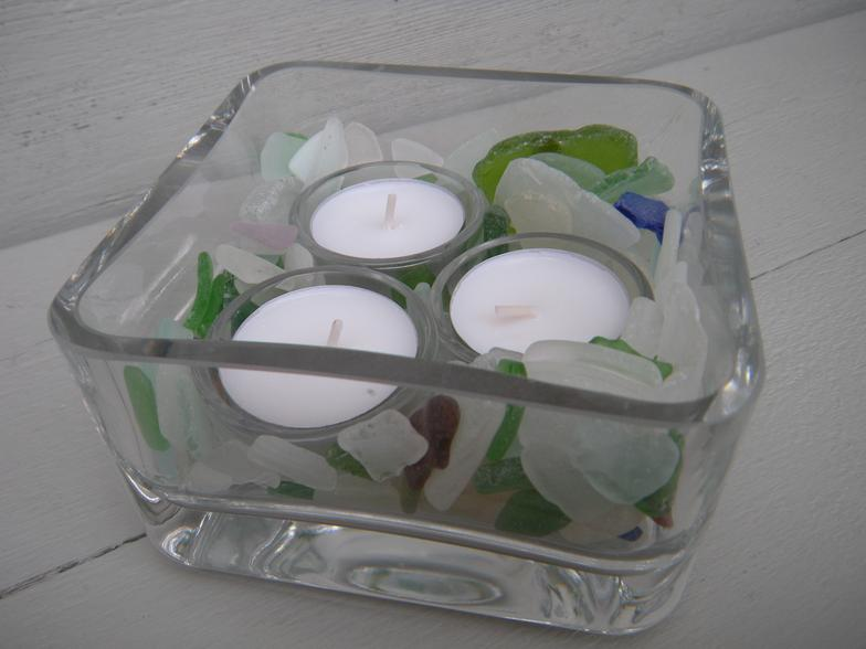 lake michigan beach glass- candle holder, votive, beach glass, tea light, lake michigan, wisconsin