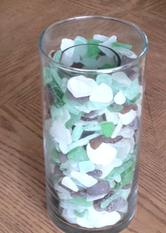 beach, sea, sand, water, glass, frosted, tumbled, sand tumbled, sea glass, beach glass, coastal, coastal decor, nautical decor, tall cylinder, candle, votive holder, light, greens, browns, whites, assorted beach glass, tropical, art, collector, collections, beach walking, beachcombing, Mexico, Sturgeon Bay, Wisconsin, LAke Michigan, Michigan, Florida, Florida Bay, Key Largo, Tavernier, travel, boating, surf, sun, fun